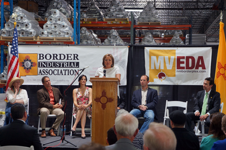 Governor Martinez welcomes W Silver and Twin Cities to New Mexico From L to R: NM Senate President Pro-tem Senator Mary Kay Papen, Mesilla Valley Economic Development Alliance President/CEO Davin Lopez, Border Industrial Association President Miriam Baca Kotkowski, Governor Susana Martinez, Owner of W Silver Recycling Lane Gaddy, and NM Economic Development Secretary John Barela.